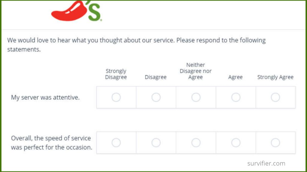 ChilisSurvey Questions