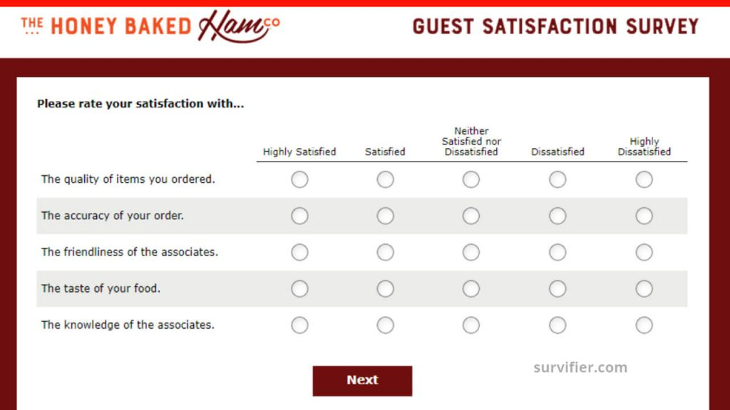 HoneyBaked Survey Questions